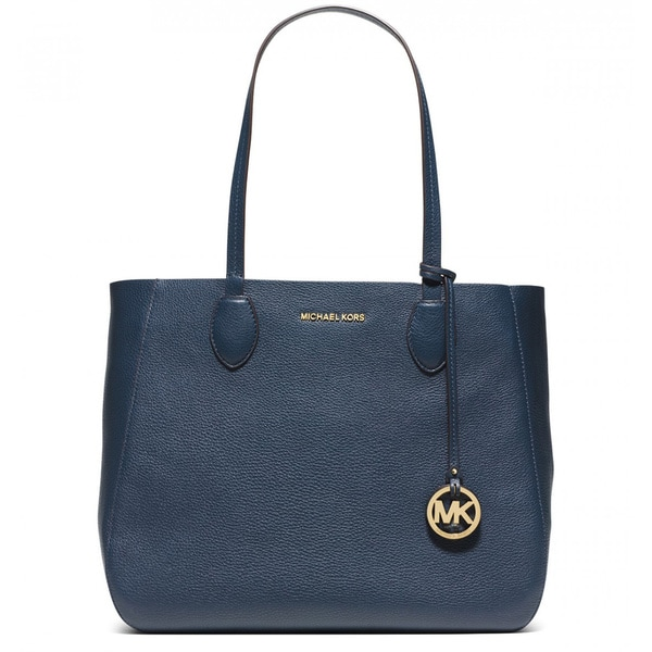 Michael Kors Mae Navy/White Large East/West Tote Bag