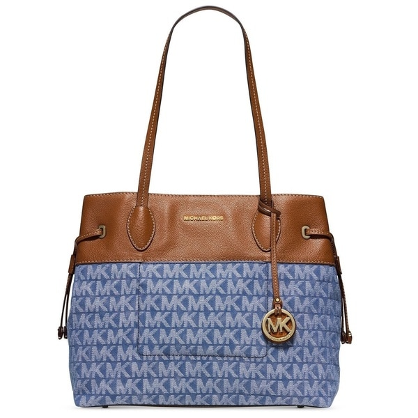 Michael Kors Marina Denim Large East/West Drawstring Tote