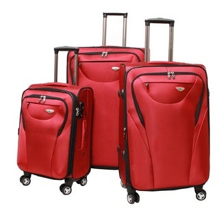 American Green Travel Red 3-piece Lightweight Spinner Luggage Set with TSA Lock