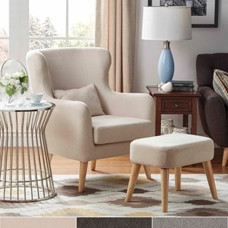 MID-CENTURY LIVING Glenn Modern Contour Wing Chair and Ottoman Set
