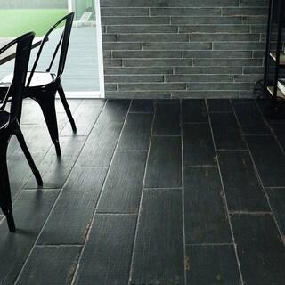 SomerTile 8.25x23.5-inch Lambris Nero Porcelain Floor and Wall Tile (8 tiles/11.22 sqft.)