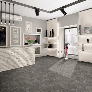 SomerTile 14.125x16.25-inch Lambris Cendra Hex Porcelain Floor and Wall Tile (Case of 9)