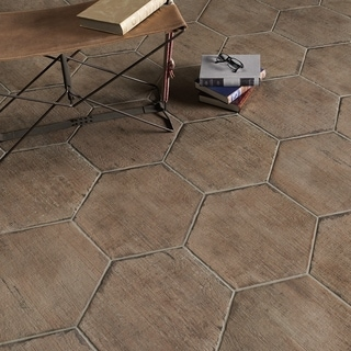 SomerTile 14.125x16.25-inch Lambris Terra Hex Porcelain Floor and Wall Tile (Case of 9)