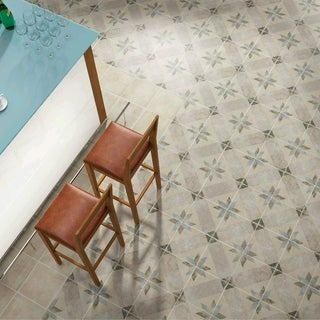 SomerTile 9.5x9.5-inch Campania Star Blue Porcelain Floor and Wall Tile (Case of 16)