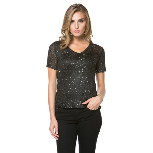 High Secret Women's Sequin Embellished Short Sleeve Top