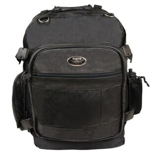 Large Black Premium Leather and Nylon Cruiser Motorcycle Sissy Bar Backpack