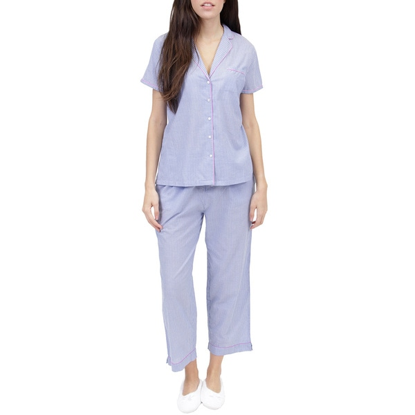 La Cera Women's Striped PJ Set