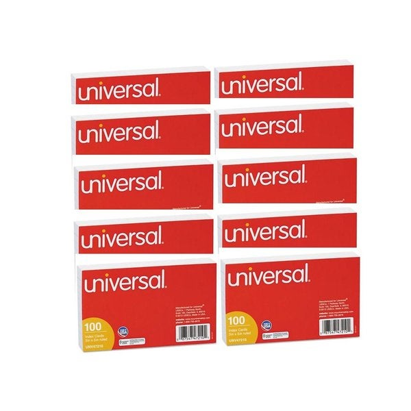 Universal Ruled Index Cards 3 x 5 White 10 Packs of 100
