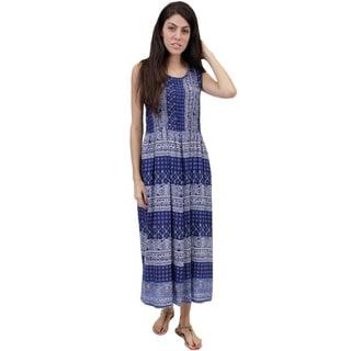 La Cera Women's Sleeveless Smock Bodice Dress