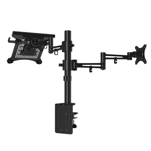 Loctek D2dl 2 in 1 Dual Monitor Arm Desk Mount Stands Fits Most 10-27 Inches Lcd Srceens and 11-15.6 Inches Laptop/ Notebook