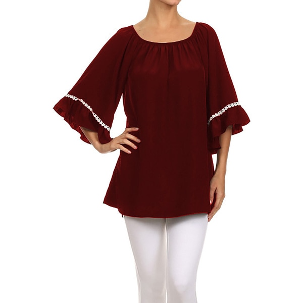 JED Women's Comfy Bell Sleeve Off Shoulder Loose Tunic Blouse