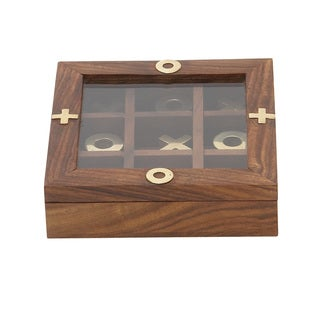 Wood Glass Game Box 5-inch wide x 2-inch high
