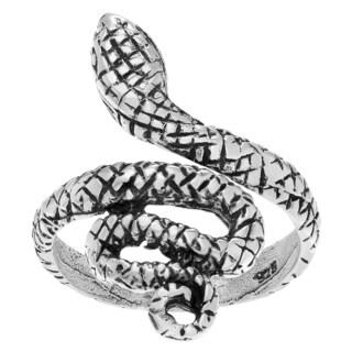 Journee Collection Sterling Silver Adjustable Snake Toe Ring