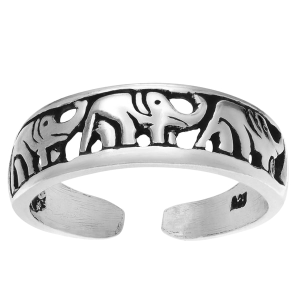 Journee Collection Sterling Silver Adjustable Triple Elephant Toe Ring