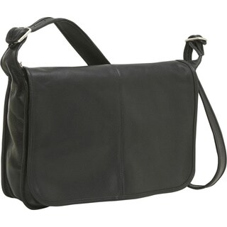 LeDonne Leather Classic Flap Over Messenger Bag
