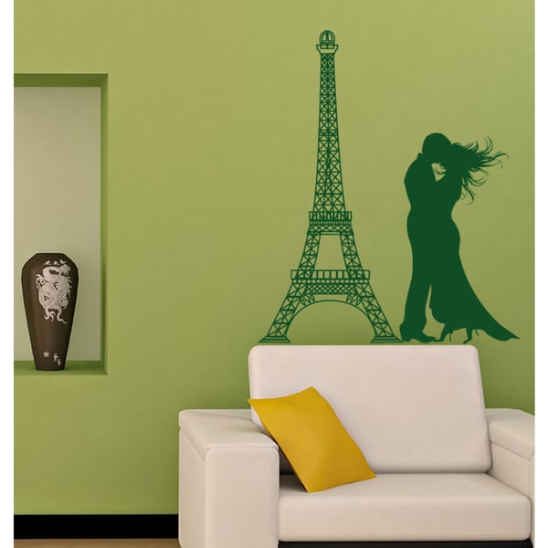 Couple in love at the Eiffel Tower Wall Art Sticker Decal Green