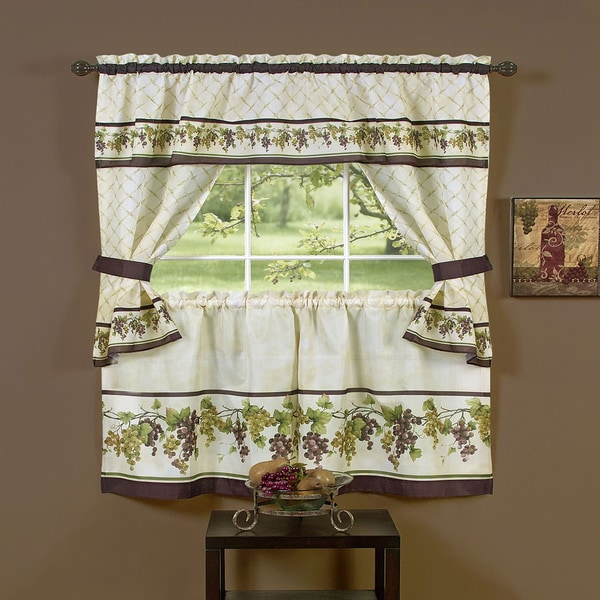Tuscany Printed Tailored Cottage Tier Curtian Set