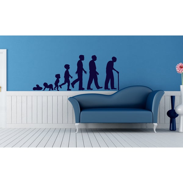 The evolution from baby to old man Wall Art Sticker Decal Blue