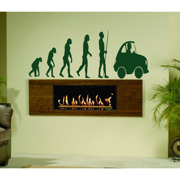 Evolution From ape to man with a car Wall Art Sticker Decal Green