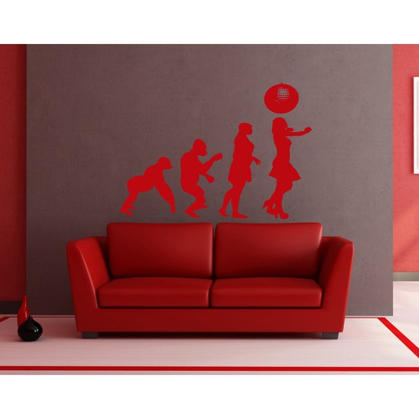 Evolution Disco Girl Wall Art Sticker Decal Red