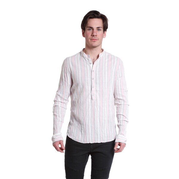Excelled Men's Lightweight Coral Stripe Woven Cotton Long Sleeve Pullover