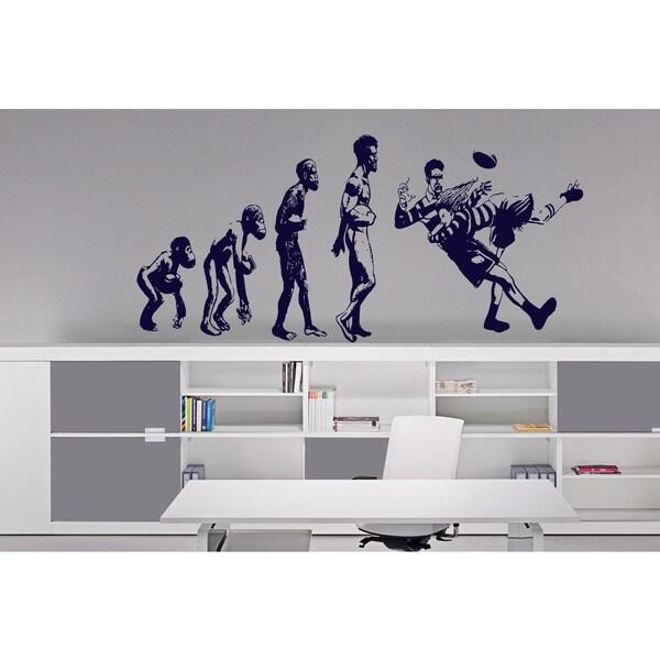 Evolution Monkey man Football Wall Art Sticker Decal Blue