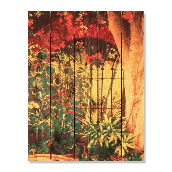 Spanish Garden -28x36 Indoor/Outdoor Full Color Cedar Wall Art