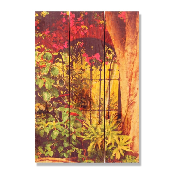 Spanish Garden -16x24 Indoor/Outdoor Full Color Cedar Wall Art
