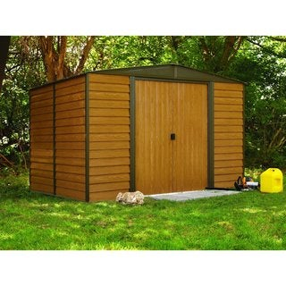 """Arrow Woodbridge Galvanized Steel Shed 10' x 12' with 71"""" Wall Height With sliding doors / WR1012"""