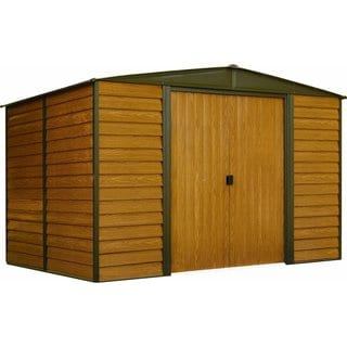"""Arrow Woodbridge Galvanized Steel Shed 10' x 8' with 71"""" Wall Height With sliding doors / WR108"""