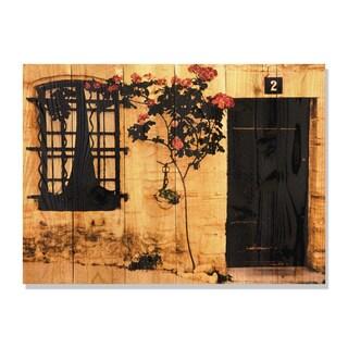 Red Flower -33x24 Indoor/Outdoor Full Color Cedar Wall Art