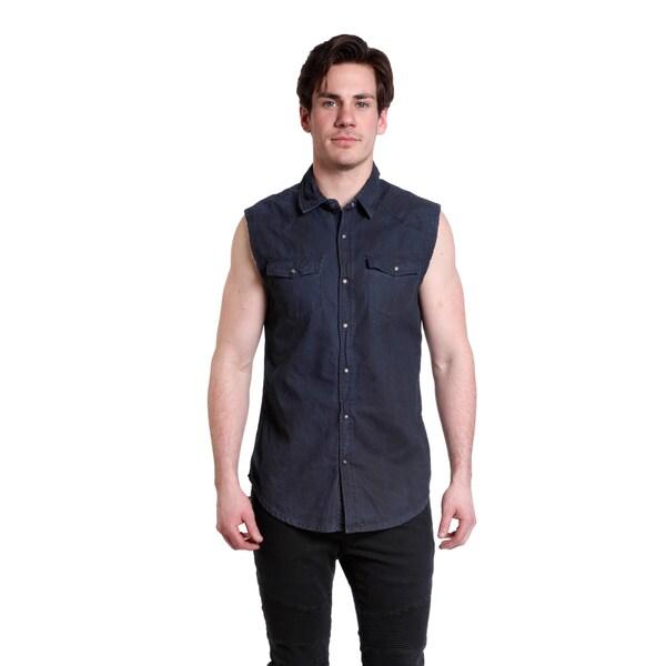 Excelled Men's Cut Off Dark Blue Denim Biker Shirt