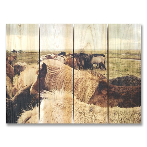 Winter Ponies 22x16 Indoor/Outdoor Full Color Cedar Wall Art