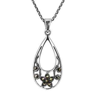 Sweet Floral TearDrop Marcasite Sterling Silver Necklace (Thailand)