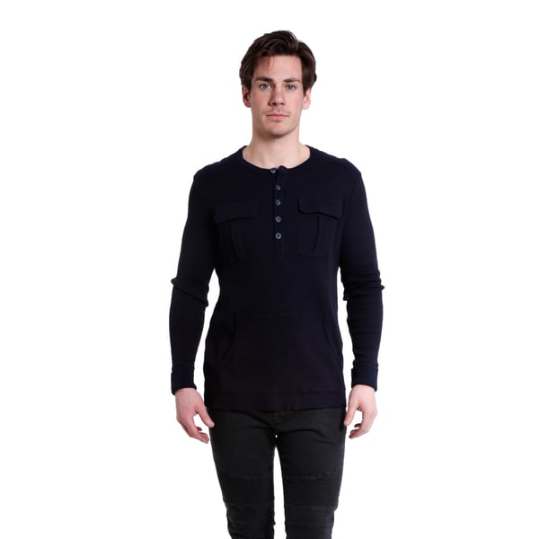 Excelled Men's Navy Blue Cotton Waffle Knit Long Sleeve Henley