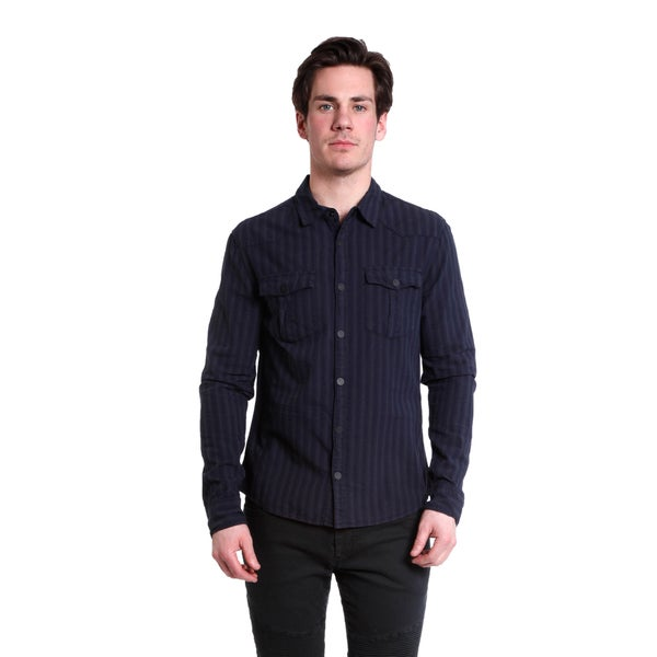 Excelled Men's Stripe Dobby Snap Front Shirt