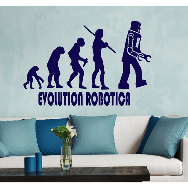 Evolution Robot Wall Art Sticker Decal Blue