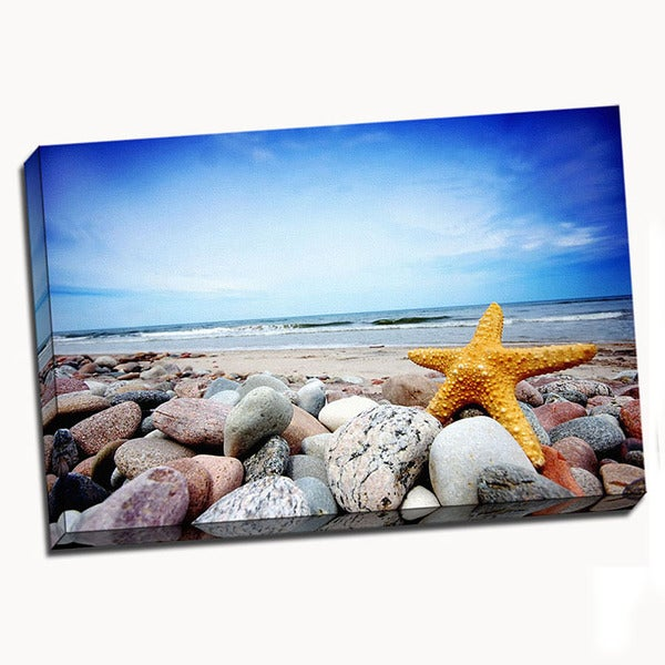 Starfish Beach Printed on Stretched Framed Ready to Hang Canvas
