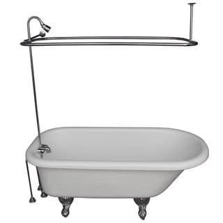 60-inch Acrylic Roll Top White Bathtub Kit in Polished Chrome