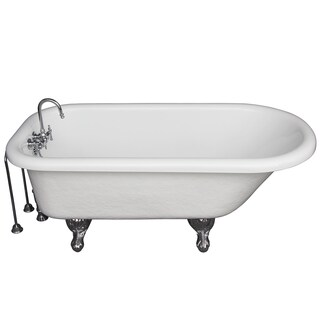 67-inch Tub Kit with Acrylic Roll Top, Tub Filler, Supplies & Drain