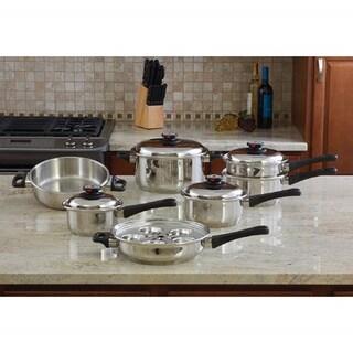 """Maxam Stainless Steel """"Waterless"""" Cookware Set (17 Piece Set)"""