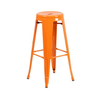 Offex 30'' High Backless Metal Indoor-Outdoor Restaurant Barstool With Round Seat