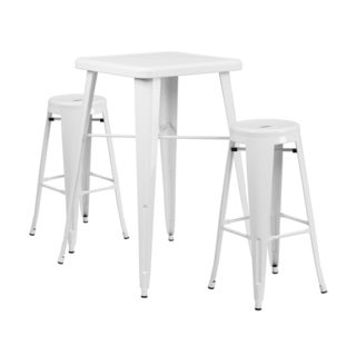 Offex Metal Indoor Outdoor Bar Table Set With 2 Barstools