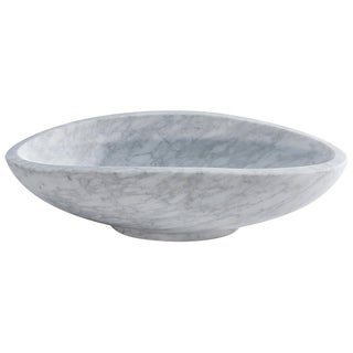 Stoni Carrara White Marble Multi-dimensional Stone Basin with Polished Interior and Exterior
