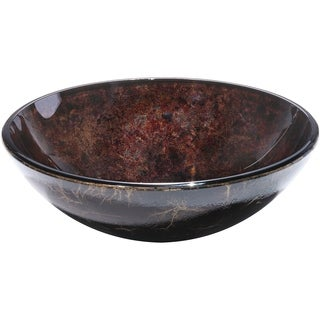 Charpenter Rich Dark Brown Round Glass Basin with Polished Interior and Textured Exterior Vessel Sink