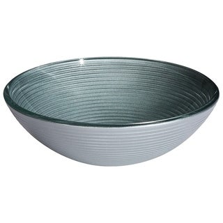 Grindelwald Silver Infinity Circles Round Tempered Glass Basin with Polished Interior and Textured Exterior Vessel Sink