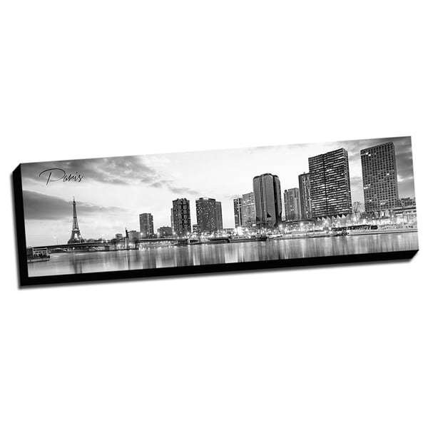 Black and White Panoramic Cities 14x48 Paris Printed on Ready to Hang Framed Canvas
