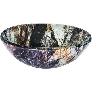Roquefort Marbled Earth Tones and Creamy Blue Glass Basin with Polished Interior and Textured Exterior