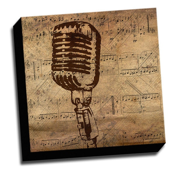Microphone and Sheet Music Printed on Ready to Hang Framed Canvas
