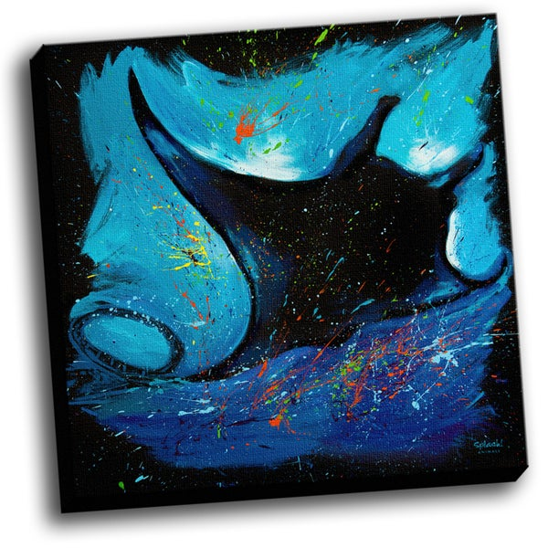 Manta Ray Colorful Art Printed on Stretched Framed Ready to Hang Canvas